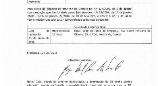 ZIF de Ribeira do Fárrio e Freixianda – publicitação de audiência final