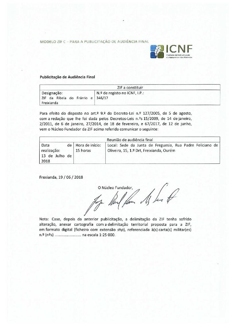 ZIF de Ribeira do Fárrio e Freixianda - publicitação de audiência final